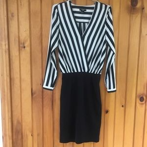 H&M 4 Black white striped top fitted bottom dress